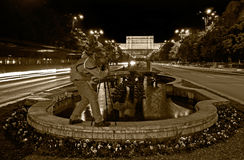 The picture taker. View towards Palace of the People in Bugharest at night Stock Image