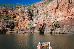 Picture taking at Katherine river gorge in Nitmiluk National Park, Australia Stock Photography