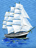 Picture on textile sailing ship Royalty Free Stock Photos