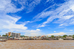 Picture of Tha Prachan waterfront top Attractions in Bangkok. Bangkok, Thailand - August 2017 : Picture of Many ship roaming And docking at Tha Prachan Royalty Free Stock Photos