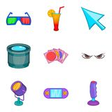 Picture theater icons set, cartoon style. Picture theater icons set. Cartoon set of 9 picture theater vector icons for web isolated on white background Royalty Free Stock Photo