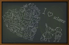 Picture  on the theme of school and science, the contour of icons  Royalty Free Stock Photo