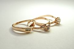 Picture of three beautiful female rings. royalty free stock image