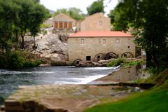 Tilt and shift mill-house. A picture with a Tilt and shift lens of a mill-house in Vilar de Mouros, Portugal stock images