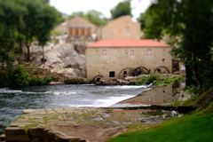 Tilt and shift mill-house. A picture with a Tilt and shift lens of a mill-house in Vilar de Mouros, Portugal royalty free stock photos