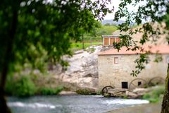 Tilt and shift mill-house. A picture with a Tilt and shift lens of a mill-house in Vilar de Mouros, Portugal royalty free stock images