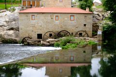 Tilt and shift lens mill-house. A picture with a Tilt and shift lens of mill-house in Vilar de Mouros, Portugal stock photography