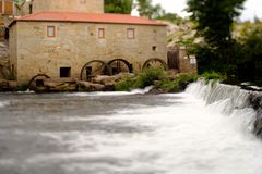 Tilt and shift lens mill-house. A picture with a Tilt and shift lens of mill-house in Vilar de Mouros, Portugal stock photo