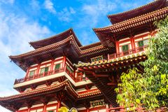 Chinese temple in Chinatown, Singapore. This picture is to show out a hopeful and positive feeling from the magnificent architectural style Royalty Free Stock Photo