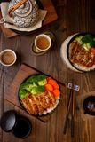Top view set of teriyaki chicken grill with rice in Asian food style royalty free stock photos