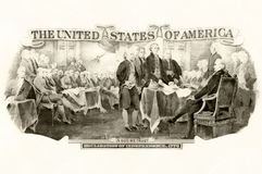 Picture on the topic of Declaration Of Independence. From the back of Two dollar bill vector illustration
