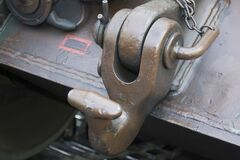 Picture of a towing hook bolted on a tank frame. Royalty Free Stock Photos