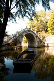 Chinese bridge. A picture of a traditional boat and a traditional chinese bridge Stock Photos
