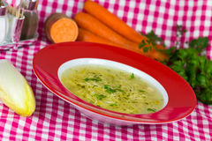 A picture of a  traditional chicken soup served  o Stock Images