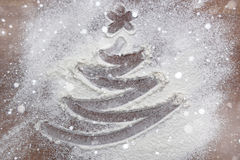 Picture tree in flour Stock Photos