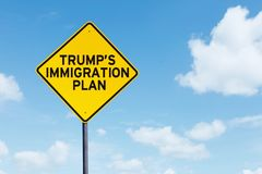 Trump Immigration Plan text on highway sign. Picture of Trump`s Immigration Plan text on a yellow highway sign under blue sky stock photography