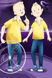 Twins in space character cartoon style  illustration Royalty Free Stock Photos