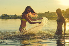 Picture of two beautiful girls best friends having Royalty Free Stock Image