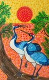 Picture, two Chinese cranes at sunset, bright colors. Acrylic paints stock illustration