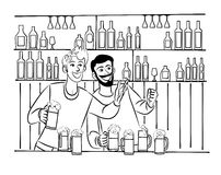 Picture of two friends having fun in bar with beer. Vector picture of two friends having fun in bar with beer Stock Photography