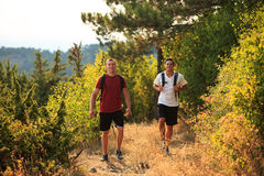 PIcture of a two hikers walking Royalty Free Stock Images