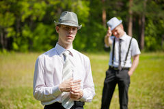 Picture of two man outdoors Royalty Free Stock Photos