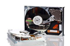 Picture of two opened hard disk drives Royalty Free Stock Photography
