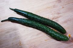 Fresh green cucumber on board