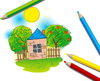 Picture village house, drawn with colored pencils. Royalty Free Stock Image