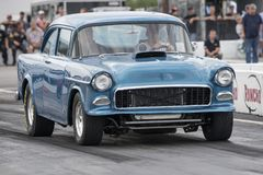 Vintage drag car on the track. Picture of vintage drag car on the track during the john scotti all out august 17, 2017 Royalty Free Stock Images