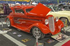 Red hot rod car. Picture of vintage red hot rod car in display during the autorama montreal september 16-17 2017 Stock Photography