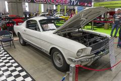 Shelby gt350. Picture of vintage shelby gt 350 in display during salon de l`auto sport de quebec mai-3-5 2019 stock photo