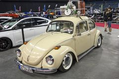 Vintage volkswagen beetle. Picture of vintage Volkswagen beetle in display during the autorama montreal september 16-17 2017 stock photos