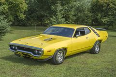 Plymouth road runner. Picture of vintage yellow plymouth road runner during convention chrysler at st liboire august 4-5 2018 stock photos