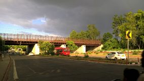 Bright Sun in Dark Clouds. This picture was captured by Microsoft Lumia 640xl near National Science Centre, Delhi Stock Images