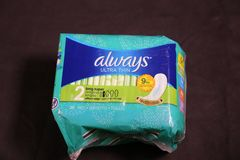 Always- brand name for maxi pads for women stock photo