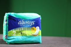 Always- brand name for maxi pads for women royalty free stock photos
