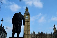 Winston Churchill is still worried about watching the parliament. royalty free stock photo