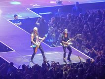 Two musicians playing rock music at a Scorpions concert in Saint Petersburg royalty free stock photos