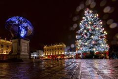 Christmas lights on the Stanislas square stock images