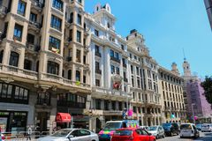 Calle Gran Via street after the gay pride in July 2018 royalty free stock images
