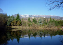 Forest lake in the mountains of Crimea. The picture was taken on a mountain Ayu-Dag royalty free stock images