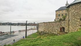 Copenhagen. Fragment of Kronborg Castle, beautiful view of the bay, port and part of the city, Denmark. royalty free stock photo