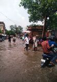 Water Logged Street. Picture of a water logged street in India due to heavy rains stock photography