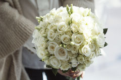 Picture of wedding bouquet of white roses Stock Photography