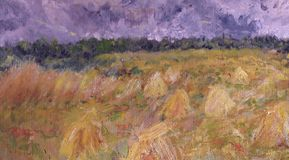 Picture of a wheatfield. Oil painting of a harvested wheatfield ,impressionnism Royalty Free Stock Images