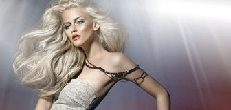 Picture of whitehair young woman Royalty Free Stock Photography