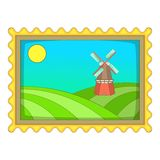 Picture with windmill icon, cartoon style. Picture with windmill icon. Cartoon illustration of picture with windmill vector icon for web design Stock Photography