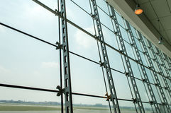 Picture window in the lobby of the airport Stock Photography