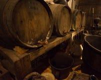 Wine barrels in cellar Stock Image